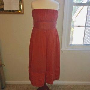 Coral strapless jcrew dress
